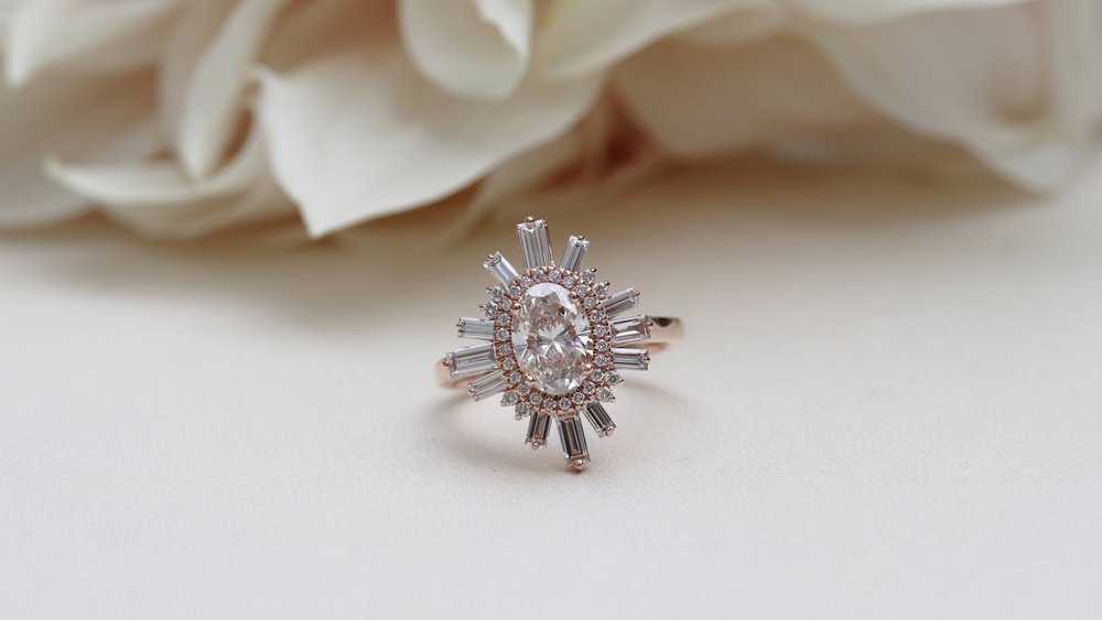 oval and baguette custom halo sun shaped engagement ring
