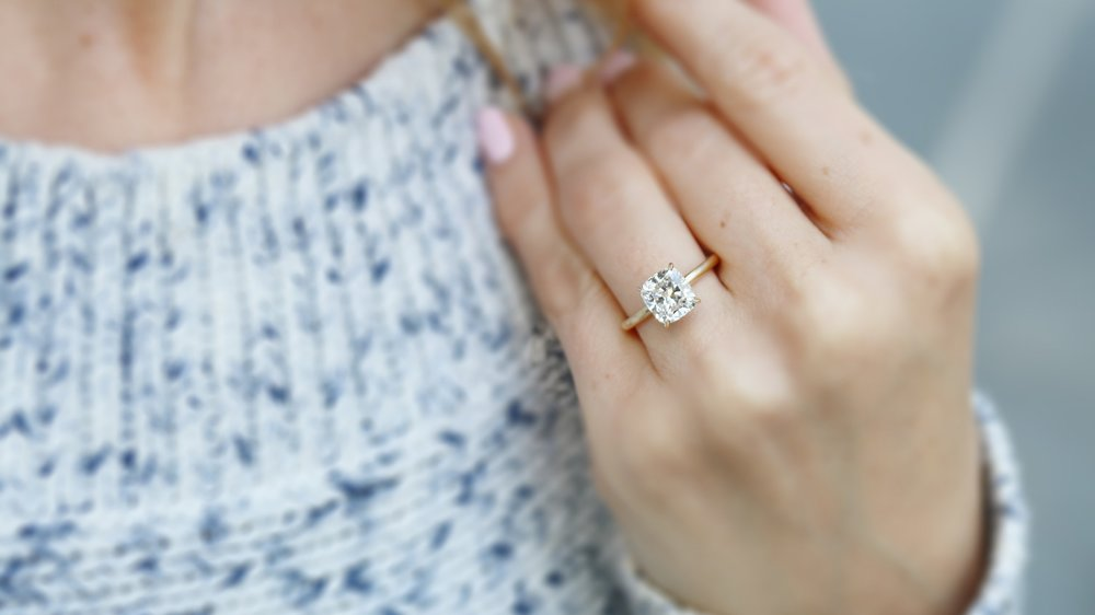 east west emerald lab diamond solitaire engagement ring ada diamonds