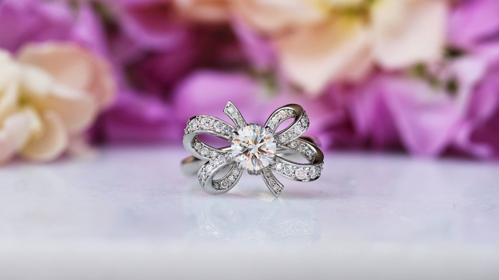 bow shaped custom lab diamond engagement ring ada diamonds