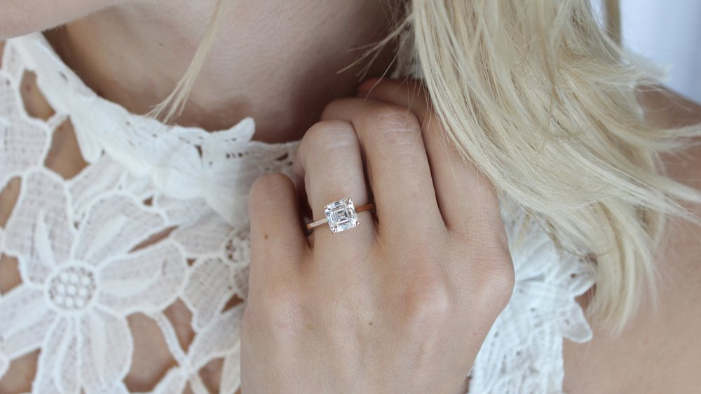asscher cathedral lab diamond solitaire engagement ring rose gold