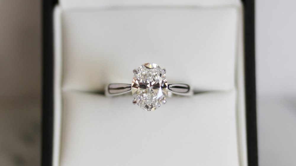 oval lab diamond solitaire engagement ring white gold ada diamonds
