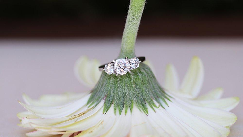 three stone platinum round lab diamond engagement ring ada diamonds