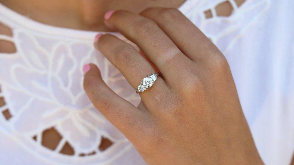 round three stone lab diamond engagement ring