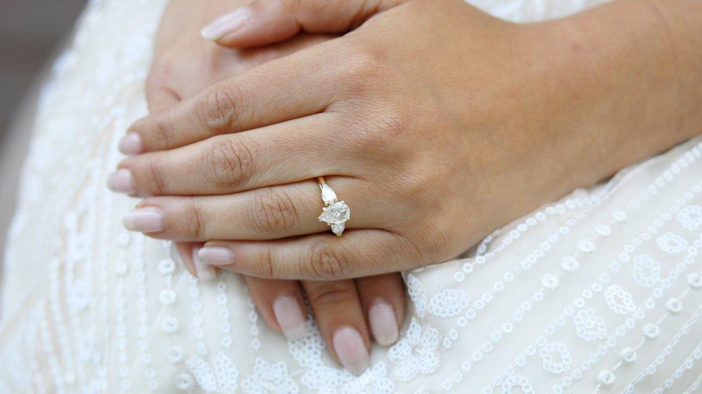 three stone pear lab diamond engagement ring ada diamonds