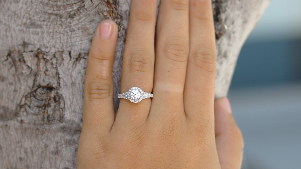 custom split shank single halo lab diamond engagement ring
