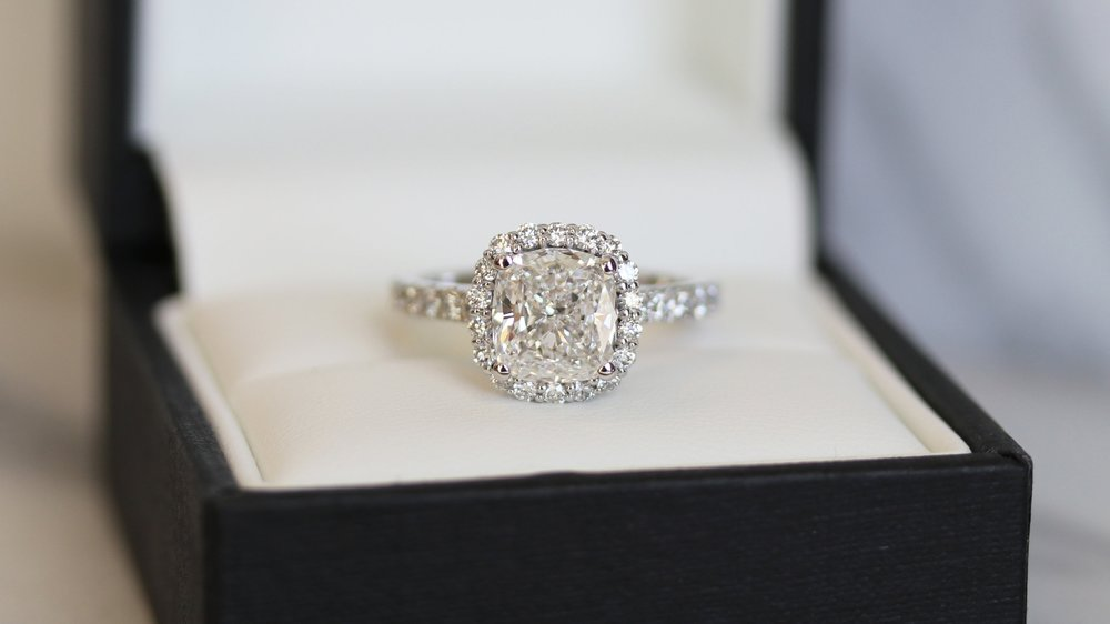 two carat cushion cut lab created diamond halo engagement ring