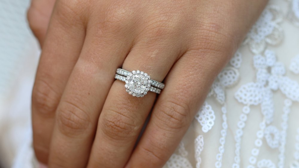 cushion cut manmade diamond halo engagement ring