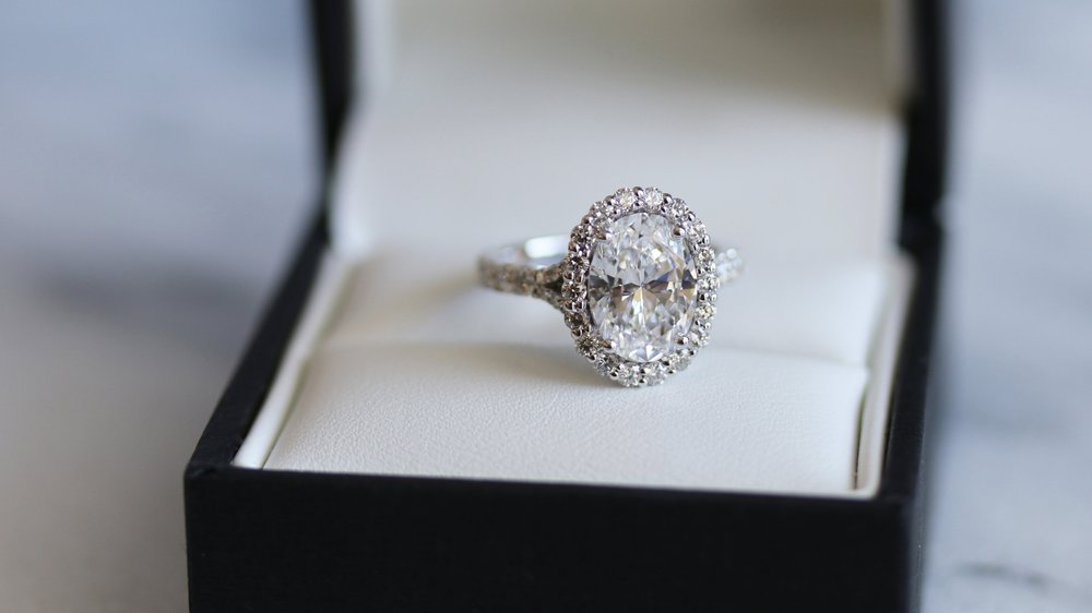oval split shank lab diamond halo engagement ring