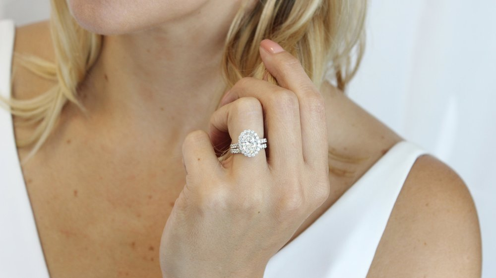 custom split shank oval halo engagement ring ada diamonds