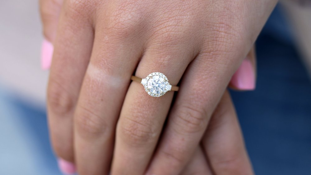 custom lab diamond halo yellow gold engagement rng