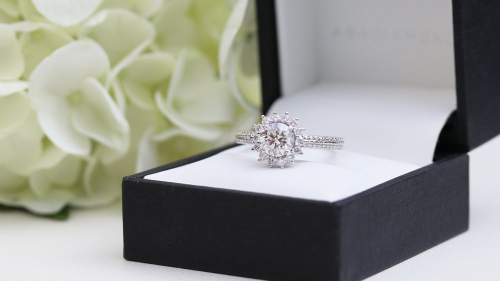 royal halo lab created diamond engagement ring