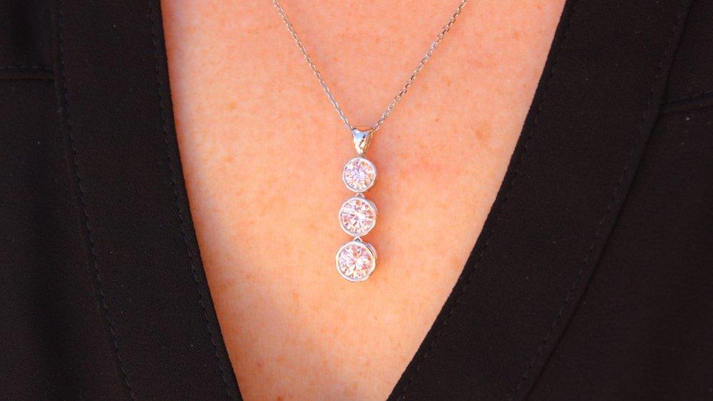 Fancy pink lab grown diamond three stone pendant necklace by Ada Diamonds