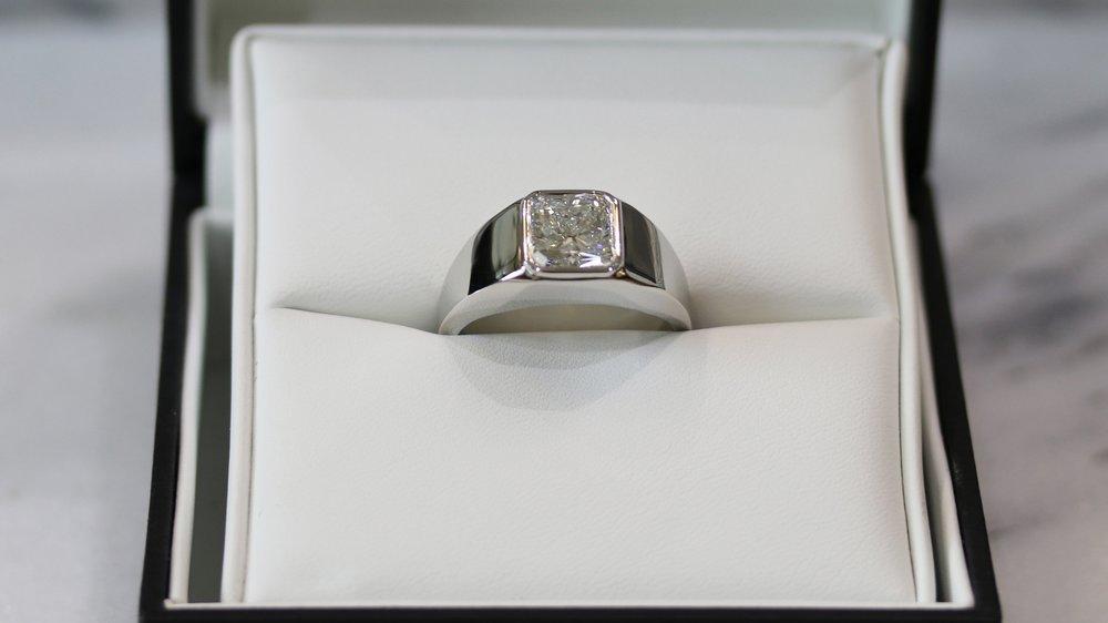 Finished Men's Bezel Set Ring in Platinum