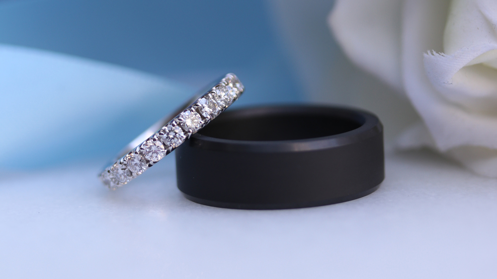 Custom Made His and Hers Lab Created Diamonds Wedding Ring Set