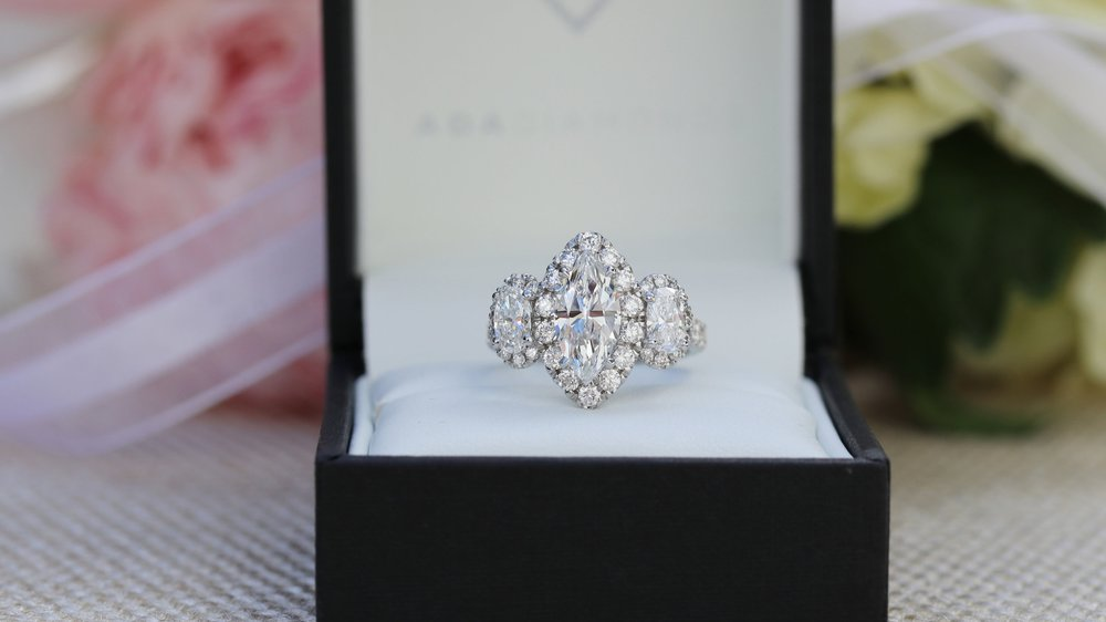 cushion cut lab diamond halo engagement ring and custom lab diamond eternity band