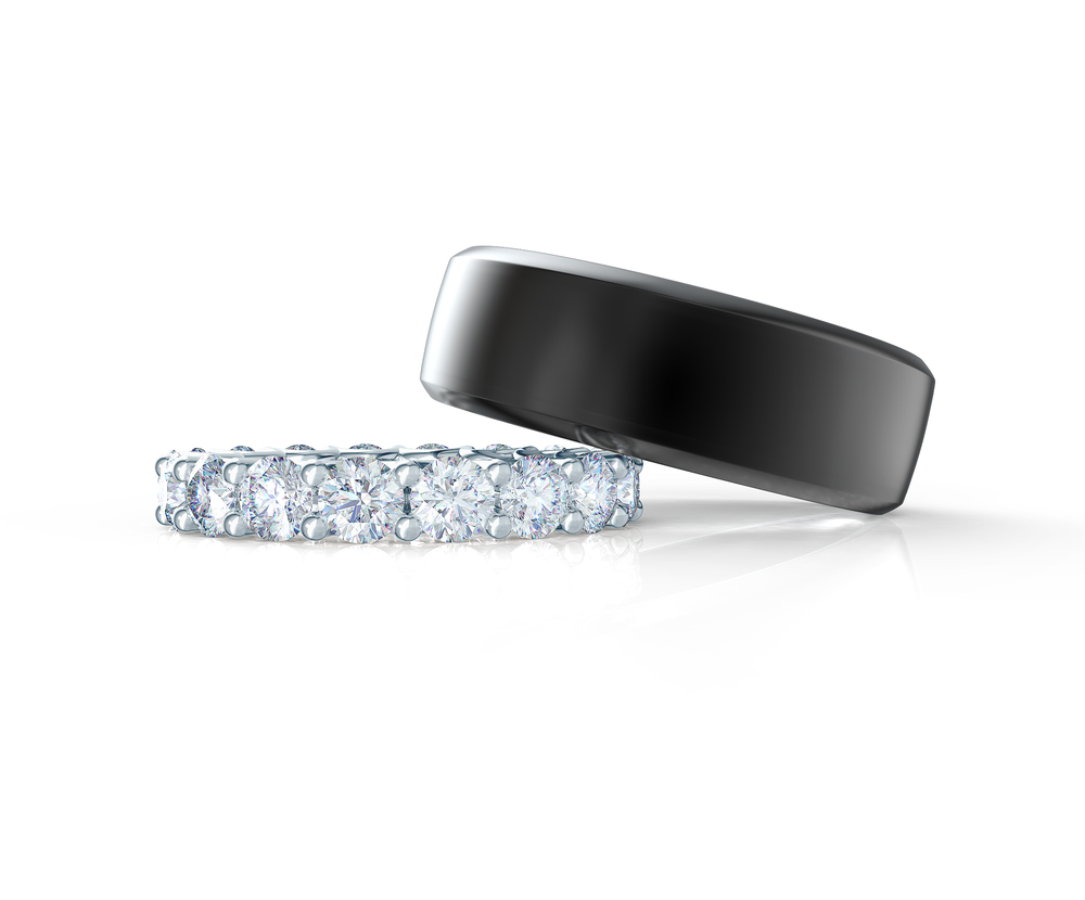 Pair your Beveled Polydiamond Ring with a French U Eternity Band    Shop Now