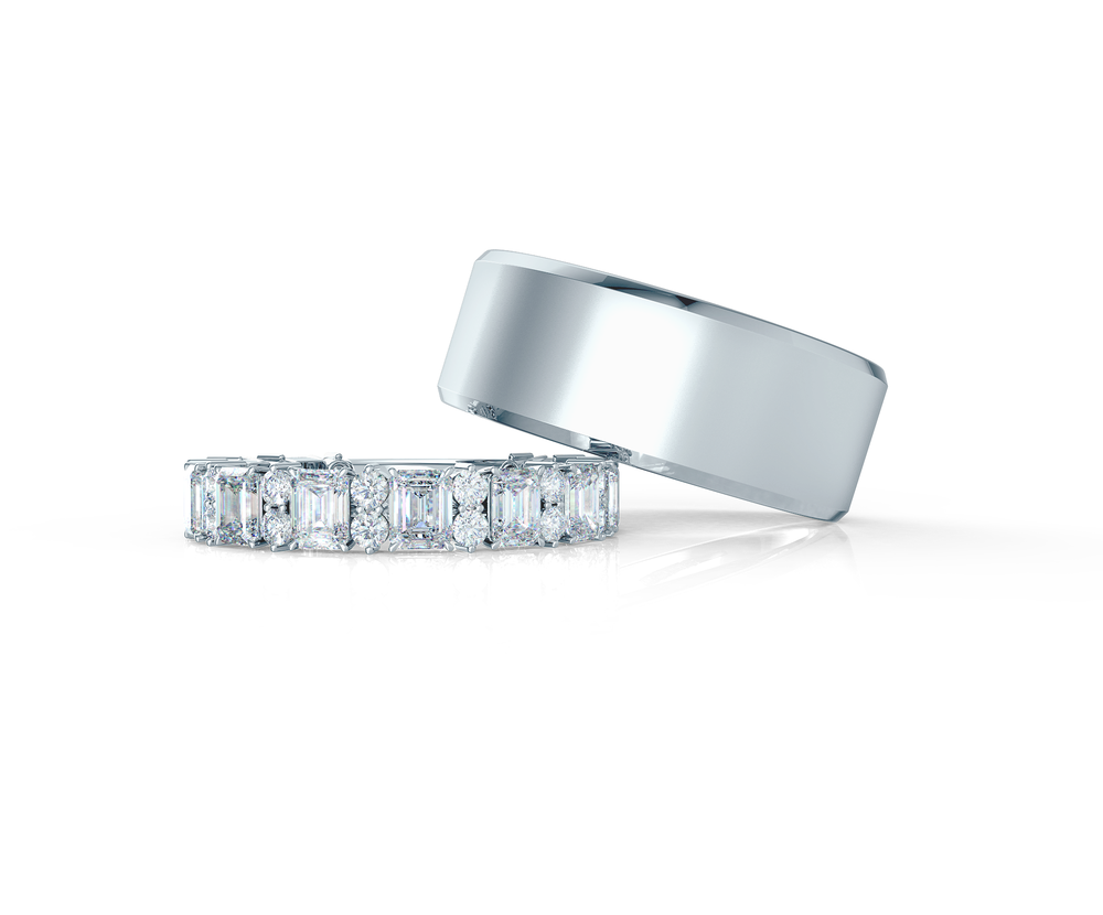 Pair your Classic Beveled Ring with an Emerald and Round Band    Shop Now