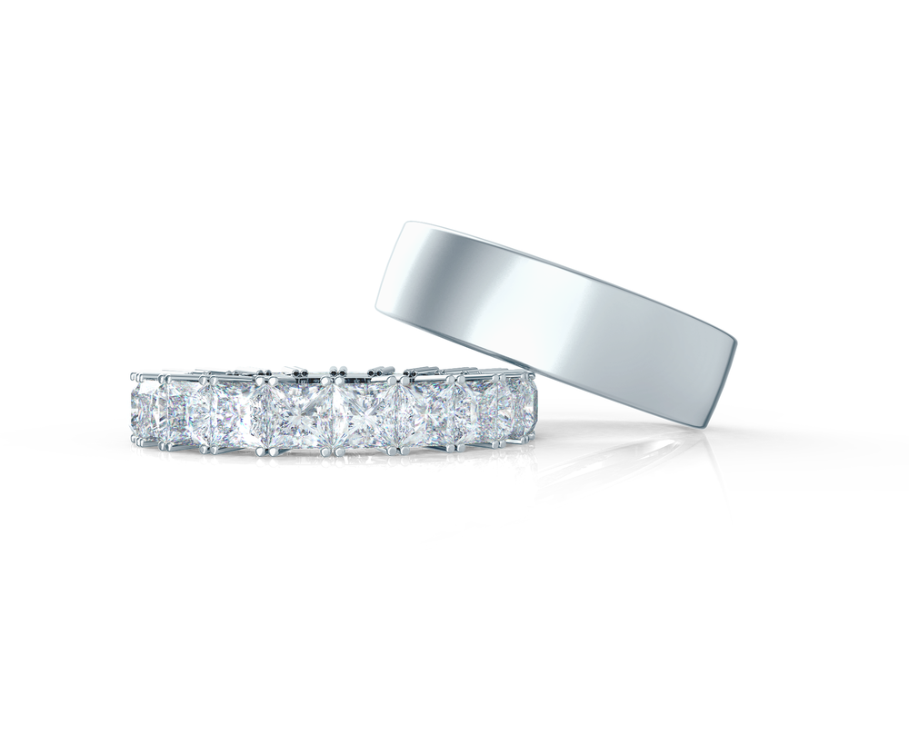 Pair your Matte Flat Ring with a Princess Eternity Band    Shop Now