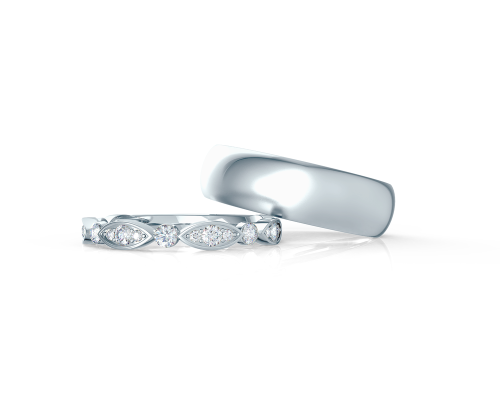 Pair your Leaf Half Band with a Matte Rounded Ring    Shop Now