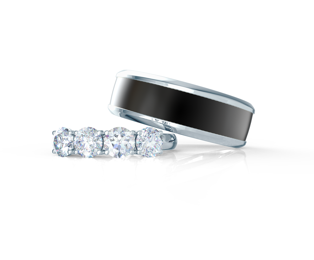 Pair your Polydiamond Inlay Ring with a Four Stone Wedding Band    Shop Now