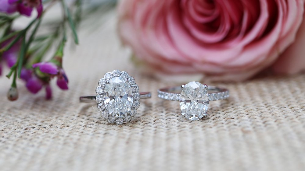 custom oval halo lab created diamond engagement ring and oval pavé solitaire lab diamond engagement ring ada diamonds New York