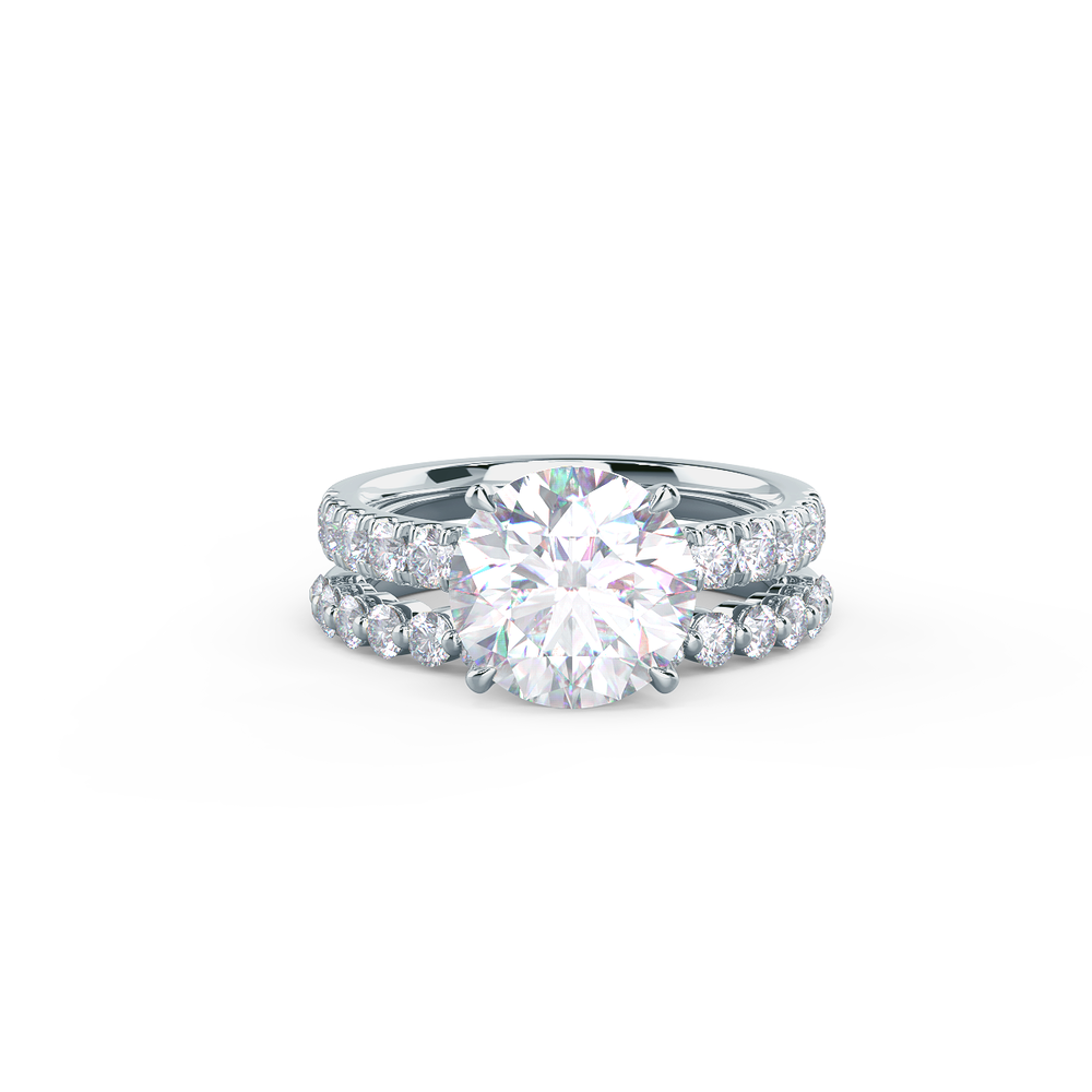 Pair your Shared Prong Half Band with a Narrow Matte Beveled Polydiamond Ring    Shop Now