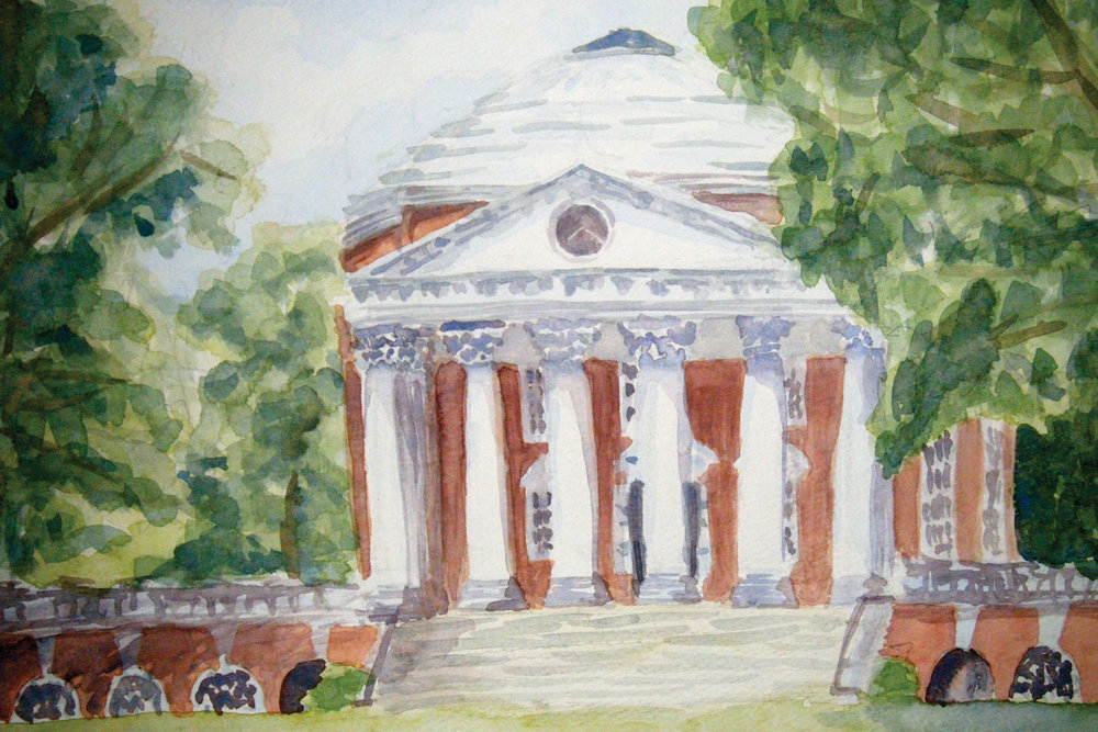 Watercolor of the Rotunda at the University of Virginia.