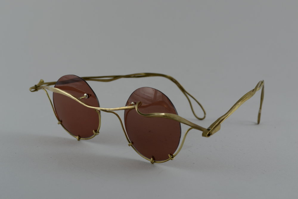 sunglasses |  forged brass, prong set acetate lens