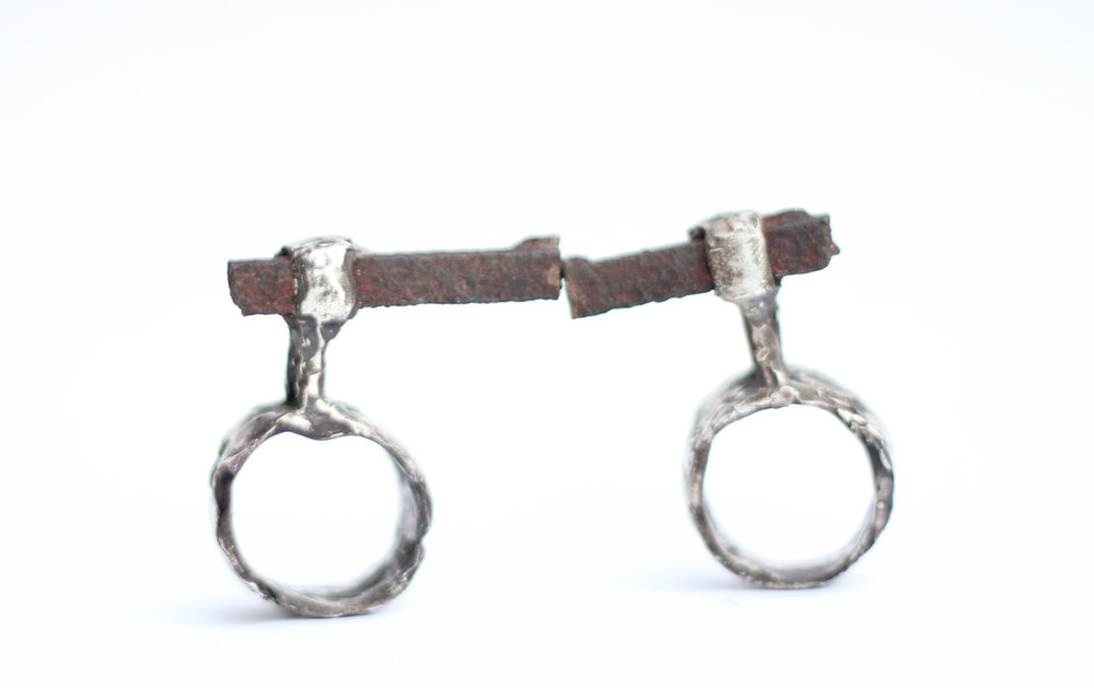 divorce  | cast sterling silver, found iron nail