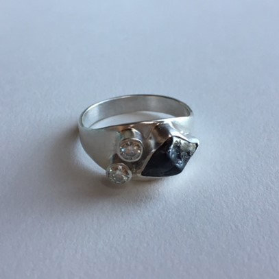engagement ring | diamonds, meteorite, silver