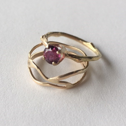 engagement ring | ruby, 14k gold