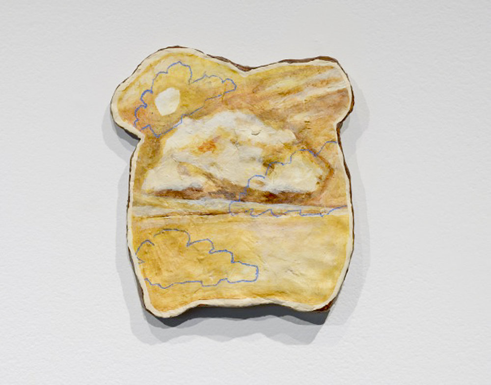 "JENNA FAYE POWELL  Wonder Bread II 2017 Acrylic and graphite on clay 5.25"" x 6"" x .5"", Hanging-Ready  Estimated Value: $375   This series of work was produced at the Vermont Studio Centre in 2017, as a part of Powell's  Blue Monday  project, which offers the question: can something be doubly fictitious? Taking inspiration from the phenomenon of finding religious portraits and iconography in toasted bread, Powell paints scenes of sublimity on sculptures mimicking sliced bread, as a nod to popular brand name  Wonder Bread —  and to discuss anomalous occurrences where fiction, humour, and sanctuary intersect."