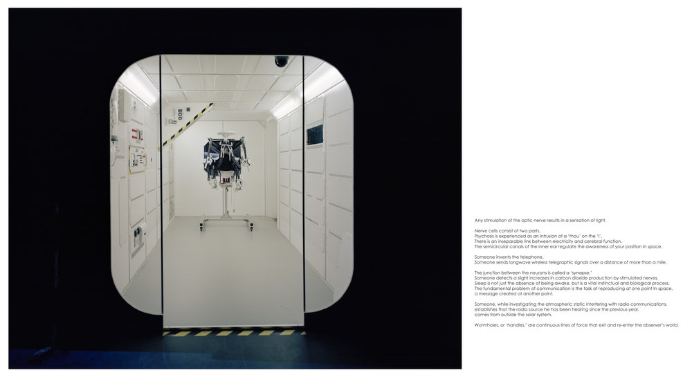 "ED001: Mark Kasumovic - Control Suit (Space Exploration Laboratory) - 2015   2018 Self publication excerpt (Photograph & text), archival pigment on archival Cold Press (305 GSM, 19 mil.) 22"" x 12"" Signed and numbered in pencil  Edition of 50 + 5 Artist's proof"