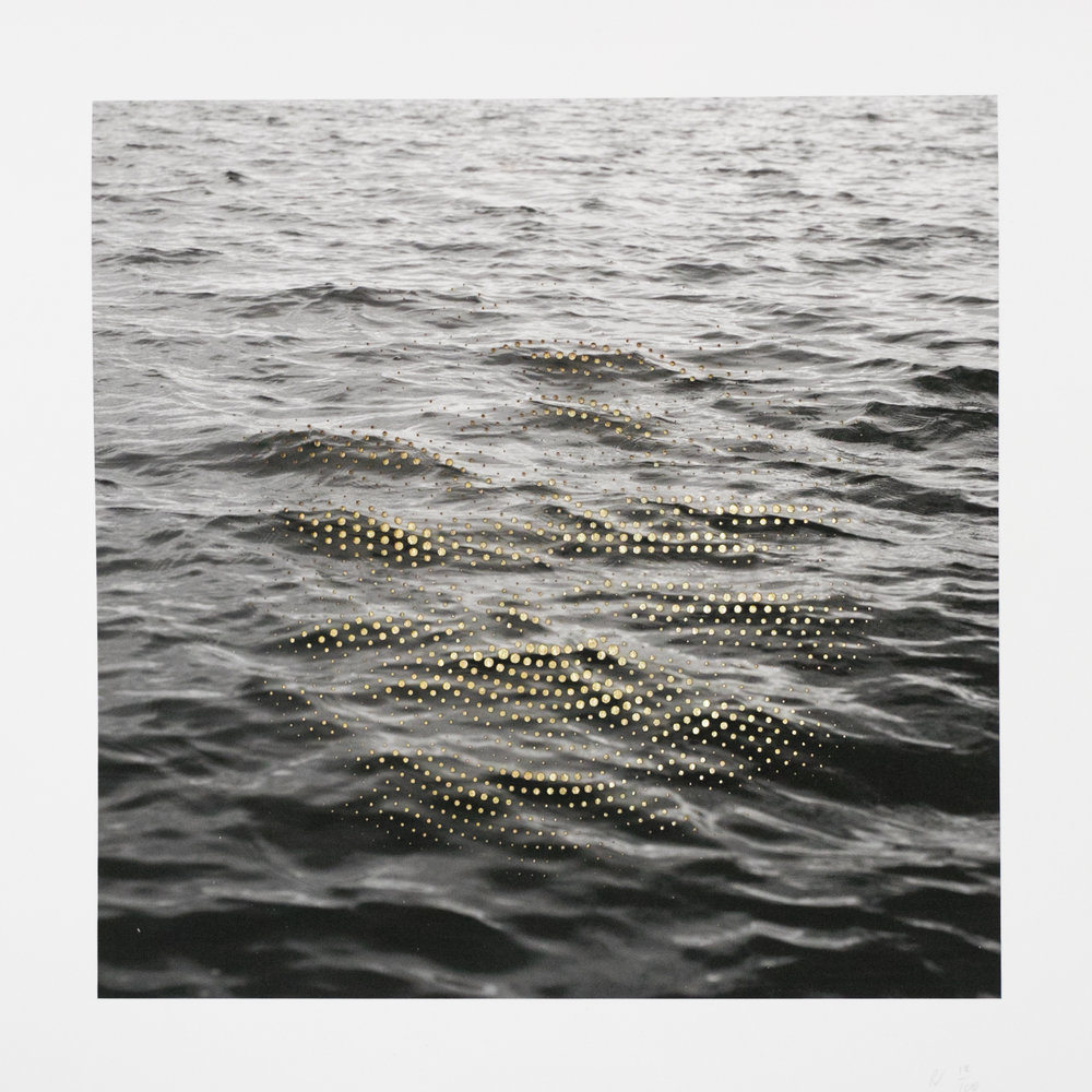 "ED006: Ryan Van Der Hout - Swell  2018 Laser cut archival pigment print on archival Cold Press paper (305 GSM, 19 mil.), gold leaf 11"" x 11"" Signed and numbered in pencil  recto verso  Edition of 100"