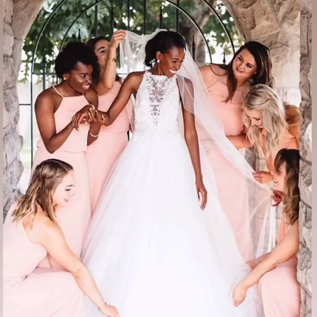 A beautiful bride and her ladies. #weddingday #bridalparty #beautiful