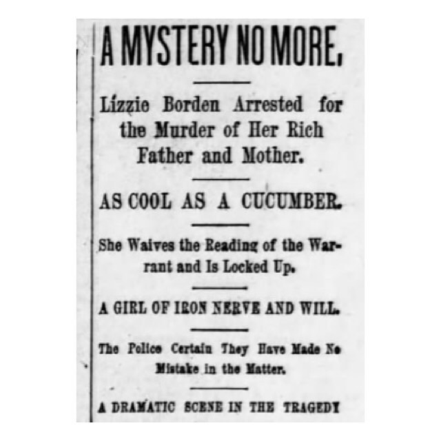 Ooohooohooo, my Lizzie Borden piece is up on @vulture! It touches on what I find so troubling about a lot of women-in-crime coverage: our consistent need to turn female criminals into heroes. Let a bad girl be bad, I say! And also: let Lizzie Borden, officially declared innocent, be at least CONSIDERED innocent before you go ahead with yet another blood-splattered ax scene, my good cinematographers! Link in bio! #lizzieborden