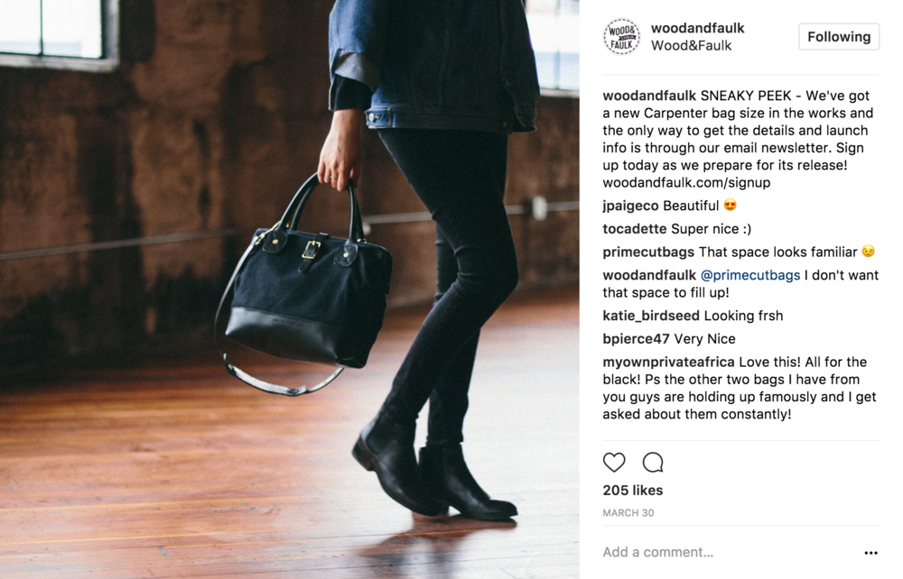 01 Teaser - The first post in the product push series asks viewers to sign up for the Wood&Faulk newsletter to get info on a new bag that will soon be released.