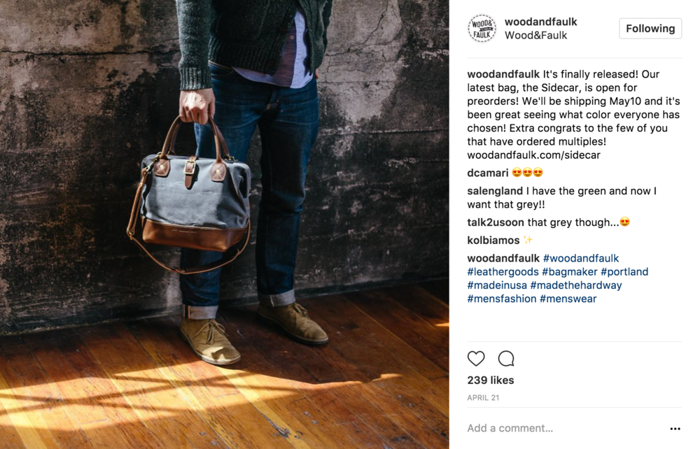 03 Product Release - This post announces the official release of the new bag, gives the name of the new product (the Sidecar) and invites viewers to preorder.