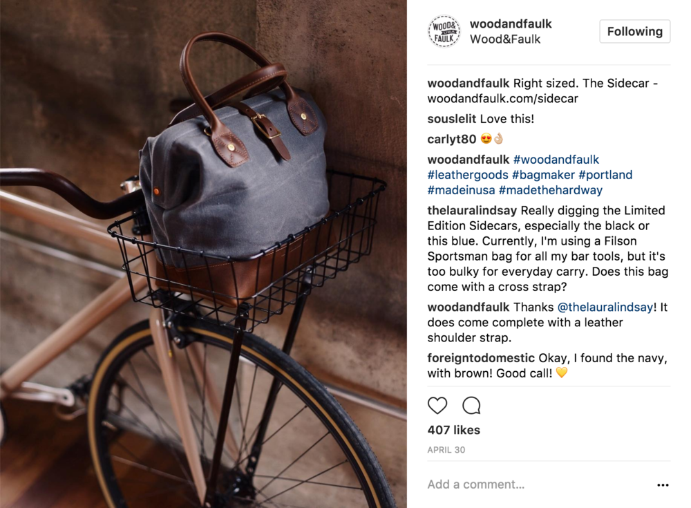 06 Associated Product Placement - By presenting the new product in the basket of what looks to be a single speed/fixed gear bike Wood&Faulk aligns their new bag with a specific aesthetic connected to an urban, active and design-centric lifestyle.