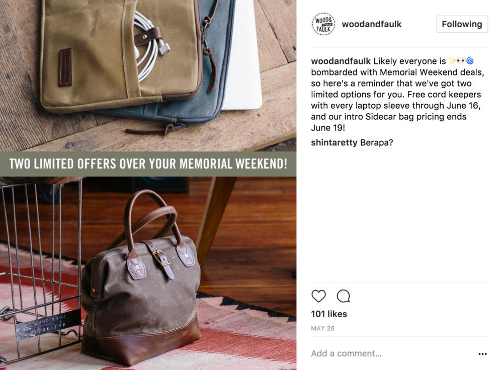 09 Limited Offer - With this post W&F pushed the new bag with a limited time offer and presents the Sidecar as 1 of 2 products being offered in the deal.