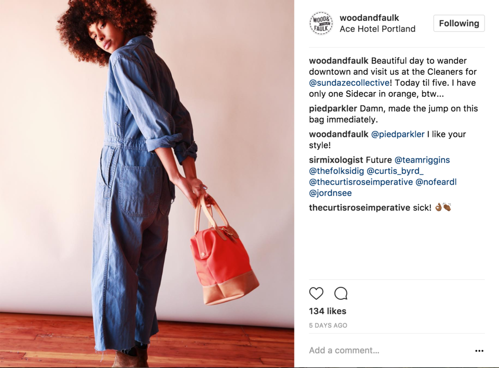 11 Model Shot - A return to the original style of model shots used in the campaign, this shot ends the Instagram series with a model we've seen before holding the bright orange version of the bag.