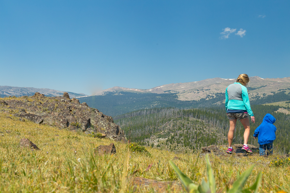 mom and toddler mountain views wyoming photography