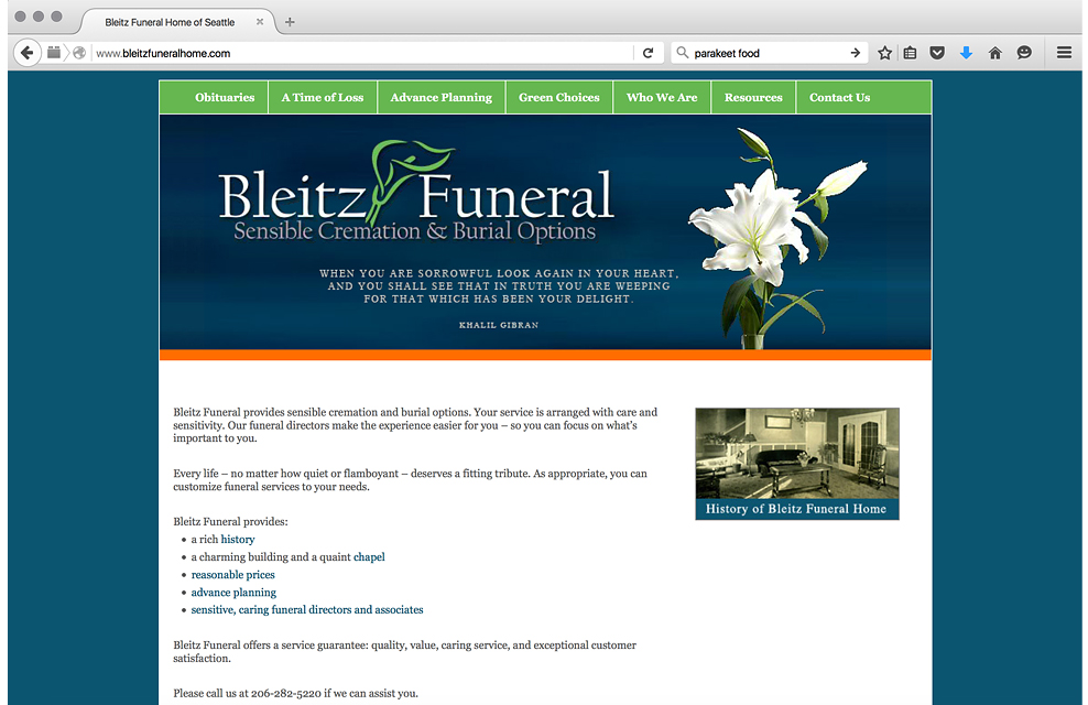 website for funeral home I worked at