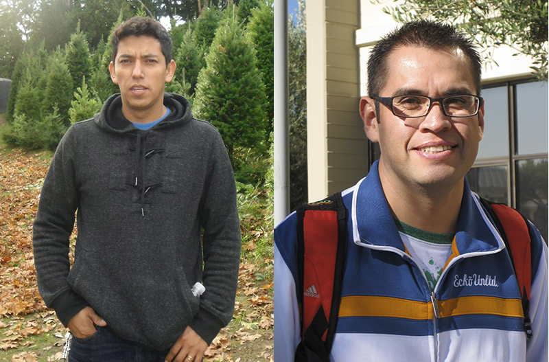 Omar Martinez (left) and Juan Angel (right) received Academic Excellence Awards from Cañada College's English Institute