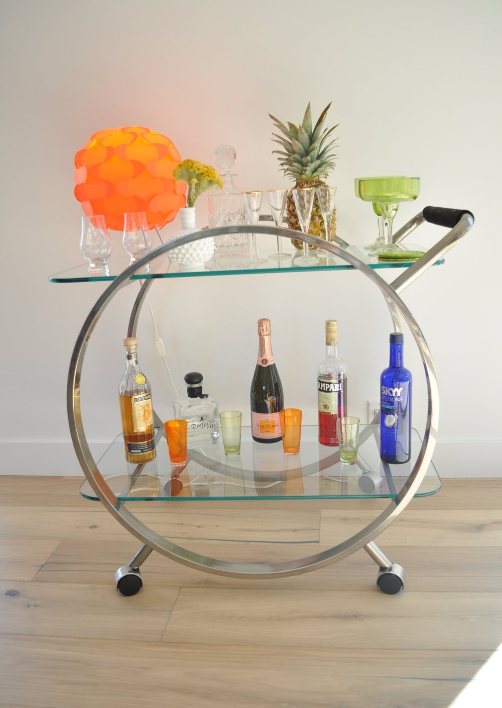 My bar Cart, with subtle yellow flowers.