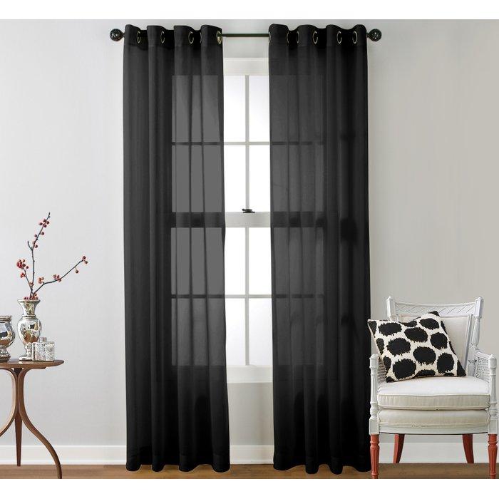 black sheer curtains