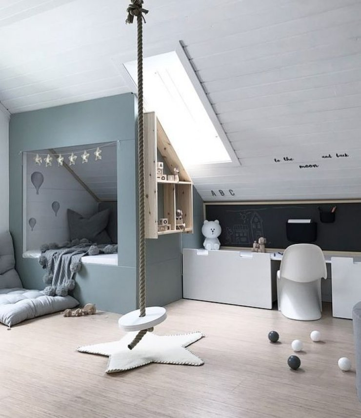 this room was designed in Norway. Image via  NR13b . Can we all agree that a swing in a kids room is so cool!