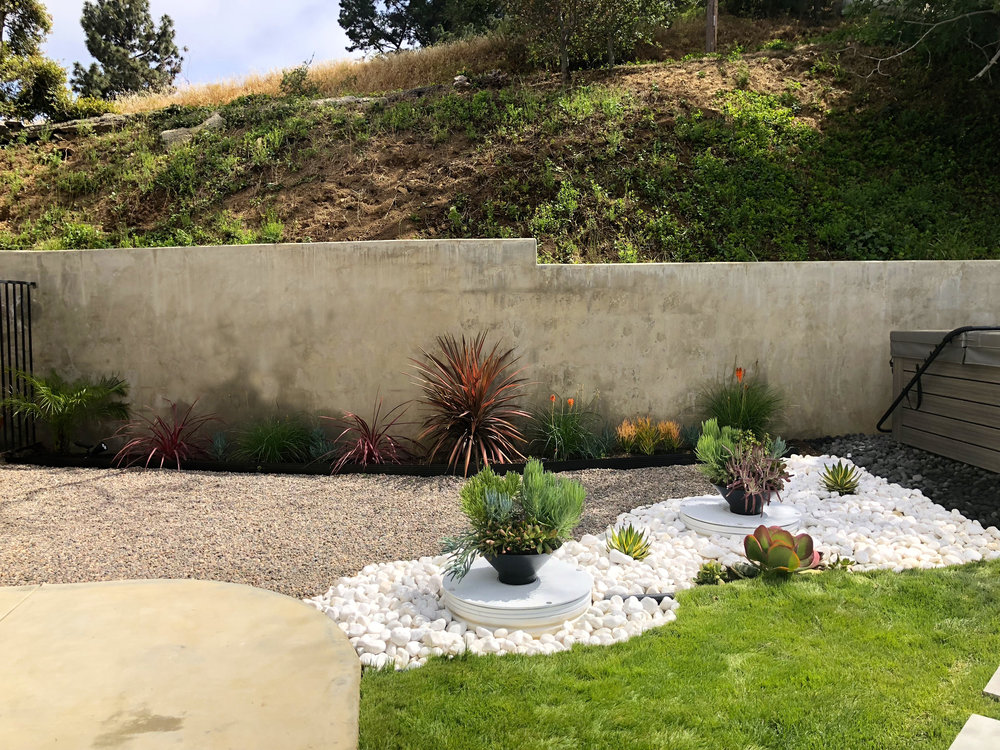 If you remember from the before pics, those white circles are the septic tank covers. We wanted to disguise them, so I spray painted them white, and we used them as a platform for some planters.
