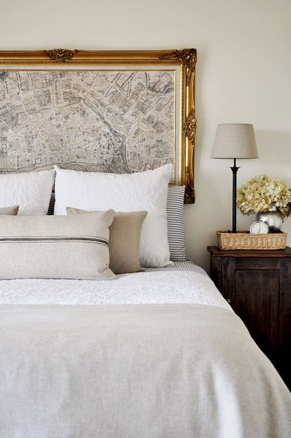 A chunky frame makes this headboard look ultra luxe. Image via  Becky Gardner .