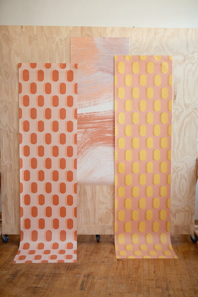 pink and yellow wallpaper. This company has the best wallpaper! https://popixdesigns.com/popixblog/2018/8/20/my-new-favorite-wallpaper-company